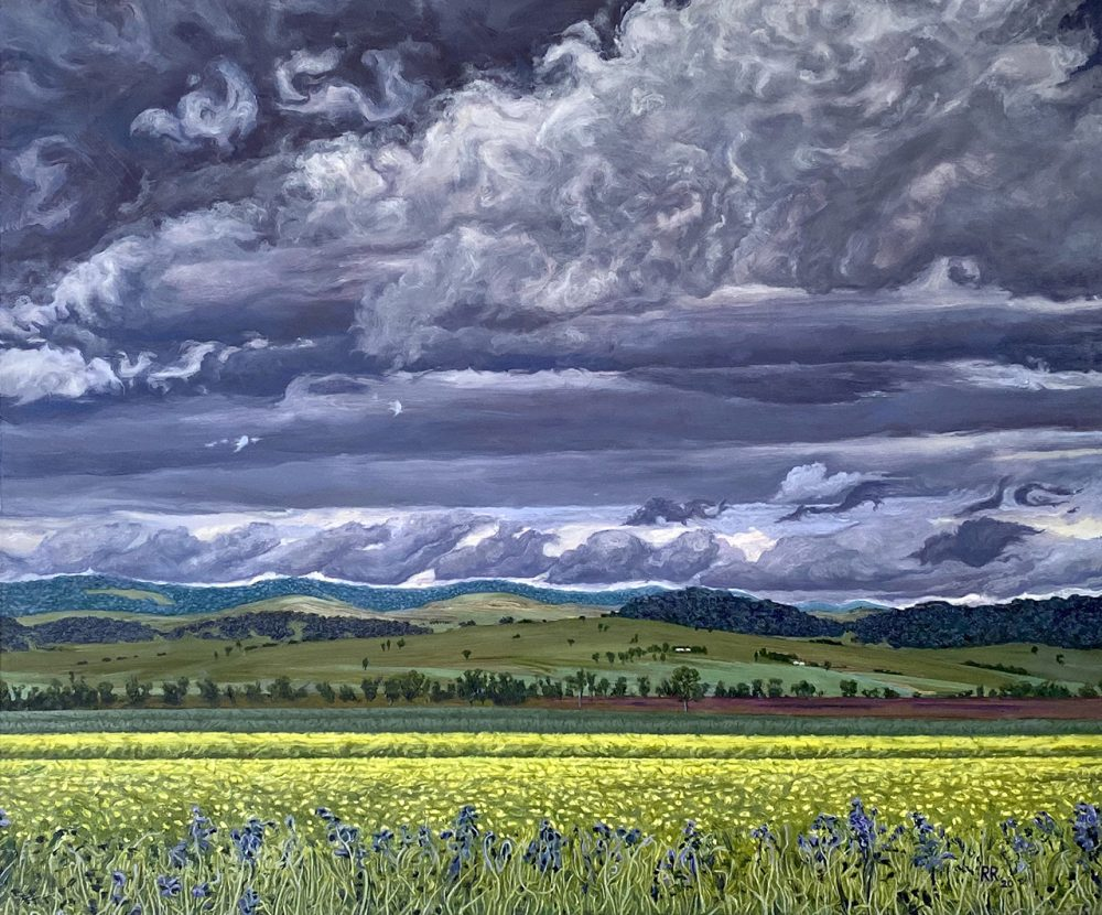 Oil painting of the near approach of a violent storm at Dunedoo in Central NSW Australia